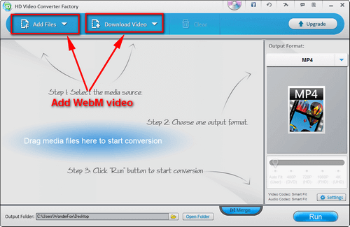 Two methods to add WebM files